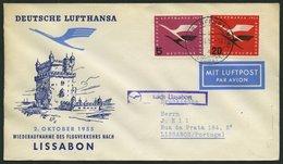 DEUTSCHE LUFTHANSA 46 BRIEF, 2.10.1955, Frankfurt-Lissabon, Prachtbrief - BRD