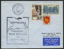 DEUTSCHE LUFTHANSA 59 BRIEF, 23.4.1956, Paris-New York, Prachtbrief - BRD