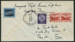 DEUTSCHE LUFTHANSA 60 BRIEF, 23.4.1956, New York-Paris, Prachtbrief - BRD
