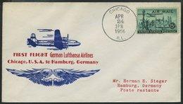 DEUTSCHE LUFTHANSA 68 BRIEF, 23.4.1956, Chicago-Hamburg, Prachtbrief - BRD
