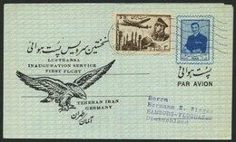 DEUTSCHE LUFTHANSA 113a BRIEF, 12.9.1956, Teheran-Hamburg, Verspätete Post Aus Teheran, Prachtbrief - BRD