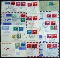DEUTSCHE LUFTHANSA Aus 5-51 BRIEF, 1955, 14 Verschiedene Flüge, Meist Prachterhaltung, Haberer 1025.- - BRD