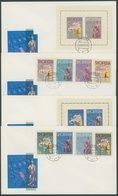 ALBANIEN Brief , 1962, Europa I Und II: Mi. Nr. 683-86, Bl. 13 Und 689-92, Bl. 14, Auf 4 FDC`s, Pracht, Mi. 270.- - Albanie