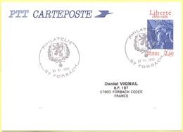 FRANCIA - France - 1988 - 2,50 Liberté + Special Cancel Philatélie - Carte Postale - Intero Postale - Entier Postal - Po - Biglietto Postale