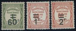 1926, 60 C. Auf 1 Fr. - 2 Fr. Auf 60 C., Postfrisch, 3 Prachtwerte, Mi. 59.- -> Automatically Generated Translation: 192 - Algerien (1924-1962)