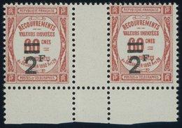 1926, 2 Fr. Auf 60 C. Ziegelrot Im Waagerechten Zwischenstegpaar, Postfrisch, Pracht -> Automatically Generated Translat - Algerien (1924-1962)
