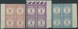 PORTOMARKEN P 59-61 VB **, 1927, 60 C. - 2 Fr. In Randviererblocks, Postfrisch, Pracht, Mi. 608.- - Algerien (1924-1962)