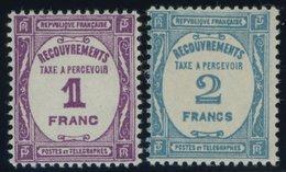 PORTOMARKEN P 60/1 **, 1927, 1 Fr. Violett Und 2 Fr. Hellblau, Postfrisch, 2 Prachtwerte, Mi. 140.- - Algerien (1924-1962)