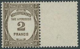 PORTOMARKEN P 66 **, 1931, 2 Fr. Sepia Mit Anhängendem Leerfeld, Postfrisch, Pracht, Mi. (270.-) - Algerien (1924-1962)