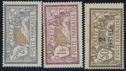 1902/3, 1 Und 2 Fr. Und 2 Pia. Auf 50 C. Freimarken, Falzreste, 3 Prachtwerte, Mi. 108.- -> Automatically Generated Tran - Gebraucht