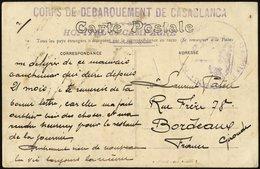 FRANZ.POST IN MAROKKO Bildpostkarte Mit Dem Französischen Landungskorps Casablanca Und Lazarettstempel Während Der 2. Ma - Marokko (1891-1956)