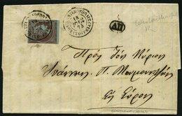 GRIECHENLAND 42c BRIEF, 1874, 40 L. Graulila Auf Blau Auf Brief Mit K2 Von Konstantinopel, Marke Senkrecht Leicht Angesc - Finnland