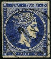 GRIECHENLAND 57 O, 1880. 20 L. Ultrmarin, Links Unten Lupenrandig, Pracht, Gepr. Büning, Mi. 180.- - Finnland