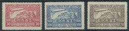 GRIECHENLAND 352-54 **, 1933, Graf Zeppelin, Prachtsatz, Mi. 380.- - Finnland