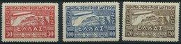 GRIECHENLAND 352-54 *, 1933, Graf Zeppelin, Falzrest, Prachtsatz - Finnland