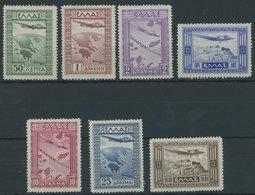GRIECHENLAND 362-68 *, 1933, Flugpost, Falzrest, üblich Gezähnter Prachtsatz - Finnland