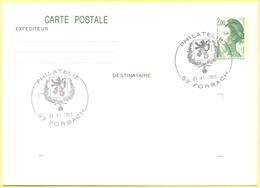 FRANCIA - France - 1988 - 2,00 Liberté De Gandon + Special Cancel Philatélie Forbach - Carte Postale - Intero Postale - - Biglietto Postale