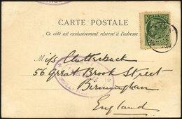KRETA 2 BRIEF, 1904, 5 L. Grün Auf Feldpostkarte Mit Violettem Ovalstempel Des Hauptquartiers HEADQURTERS-CRETE (Datum), - Kreta