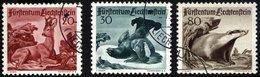 LIECHTENSTEIN 285-87 O, 1950, 3. Jagdserie, Prachtsatz, Mi. 90.- - Liechtenstein