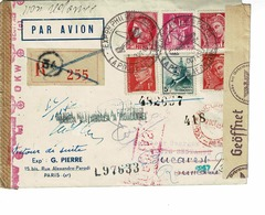AVIATION , EXPO AERIENNE GALLERIA PHIL OCTOBRE 1943, FRANCE-BUCAREST , R255 CACHET 34, CENSURE ALLEMANDE - France