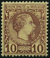 MONACO 4 *, 1885, 10 C. Rotbraun Auf Sämisch, Falzrest, Pracht, Mi. 90.- - Monaco