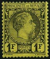 MONACO 9 *, 1885, 1 Fr. Schwarz Auf Gelb, Falzrest, Pracht, R!, Signiert Gebrüder Senf, Mi. 1800.- - Monaco