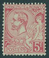 MONACO 21a *, 1891, 5 Fr. Karmin Auf Grünlich, Falzrest, Pracht, Mi. 300.- - Monaco