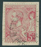 MONACO 21a BrfStk, 1891, 5 Fr. Karmin Auf Grünlich, Prachtbriefstück, Mi. 170.- - Monaco