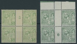 MONACO 22,49 VB **, 1902/21, 5 C. Hellgrün Und Grün, Je In Millesimes-Viererblocks, Kabinett - Monaco