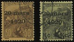 MONACO 41/2 O, 1920, 50 C. Und 1 Fr. Hochzeit Der Prinzessin Charlotte, 2 Prachtwerte, Mi. 145.- - Monaco