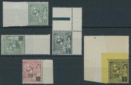 MONACO 49-53 **, 1921/2, Fürst Albert I, Alles Randstücke, 5 Postfrische Kabinettwerte - Monaco