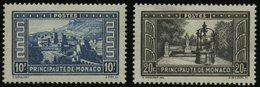 MONACO 135/6 *, 1933, 10 Und 20 Fr. Bauwerke, Falzreste, 20 Fr. Waagerechte Bugspur Sonst Pracht - Monaco