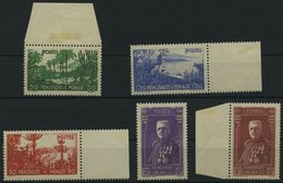 MONACO 138-42 *, 1937, Gartenanlagen Und Fürst Louis II, Falzrest, Prachtsatz - Monaco