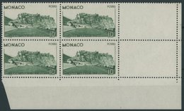 MONACO 189 VB **, 1939, 10 Fr. Louis-II. Stadion Im Eckrandviererblock Mit 2 Leerfeldern, Postfrisch, Pracht, Mi. 680.- - Monaco