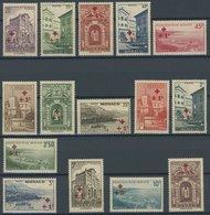 MONACO 205-19 **, 1940, Rotes Kreuz, Mi.Nr. 207 Zahnfehler Sonst Postfrischer Prachtsatz, Mi. 250.- - Monaco