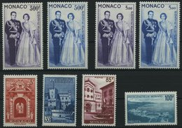 MONACO 603 *, 1959/60, Fürstenpaar Und Ansichten, Falzreste, 3 Prachtsätze - Monaco