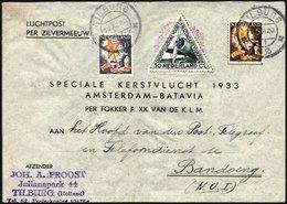 NIEDERLANDE 267,268/9A BRIEF, 16.12.1933, Postjäger - Flug AMSTERDAM-BATAVIA, Prachtbrief, Müller 190 - Niederlande