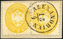POST IN DER LEVANTE V 19 BrfStk, Vorläufer: 1864, 2 So. Gelb, 2x Auf Briefstück, K1 ALEXANDRIEN, Prachtbriefstück, Gepr. - Levante-Marken