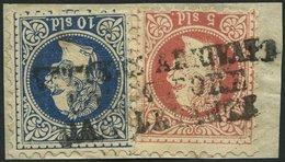 POST IN DER LEVANTE 3II,4I BrfStk, 1878, 5 So. Rot, Feiner Druck Und 10 So. Blau, Grober Druck, Vollständiger L3 LETTERE - Levante-Marken