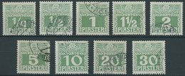 POST IN DER LEVANTE P 6-14xa O, 1908, Ziffer Hellgrün, Gestrichenes Papier, Prachtsatz (9 Werte), Stempel Ohne Obligo - Levante-Marken
