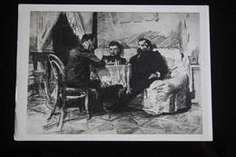 "OLD USSR PC. Painter Wrubel  ""PLAYING CHESS "" - Chess - Échecs - RARE!!! 1950s - Echecs"