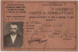 MILITARIA. COS (09) CARTE De COMBATTANT. DELIVREE à FOIX. 1934. - Guerre 1914-18