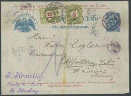 1899, 7 K. Blau, Faltbrief-Vorderseite, Von St. Petersburg In Die Schweiz, Mit Nachportomarken, Feinst -> Automatically  - Russia & USSR