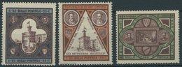 SAN MARINO 23-25 *, 1894, Regierungsgebäude, Falzrest, Prachtsatz, Mi. 70.- - San Marino