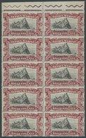 SAN MARINO 67 **, 1918, 3 L. Karmin/schwarz Im Postfrischen Zehnerblock, Teils Leicht Angetrennt, Pracht, Mi. (300.-) - San Marino