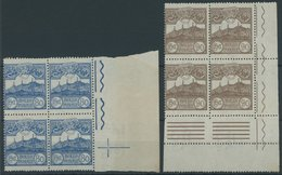 SAN MARINO 77/8 VB **, 1923, 80 C. Blau Und 90 C. Braun In Eckrandviererblocks, Postfrisch, Pracht - San Marino
