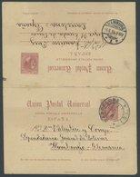 Ganzsachen: 1894, 10 C. + 10 C. Ganzsachenkarte Von BARCELONA Nach Hamburg Und Zurück, Pracht -> Automatically Generated - Spanien