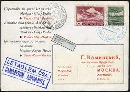 TSCHECHOSLOWAKEI 303,306 BRIEF, 2.9.36, Erstflug PRAG-CLUJ-MOSKAU, Sonderkarte, Pracht, Müller 90 - Tschechoslowakei/CSSR