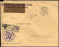 TSCHECHOSLOWAKEI 1946, Einschreibbrief Der Komise Tasovice, K2 BOCHOV Und Not-Einschreibzettel, Rückseitiger Ankunftsste - Tschechoslowakei/CSSR