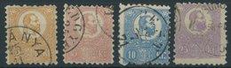 UNGARN 1,3,4,6a O, 1871, 2, 5, 10 Und 25 K. Violett Steindrucke, 4 Werte Etwas Unterschiedlich, Mi. 850.- - Hongrie